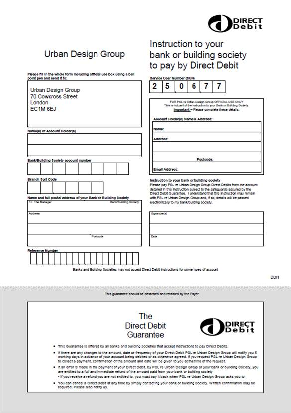 Pay By Direct Debit  Urban Design Group