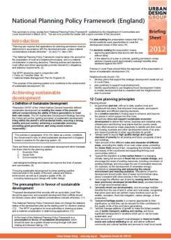 National Planning Policy Framework - UDG Briefing Sheet Publication Urban Design Group
