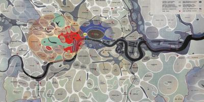 The County of London  Plan 1943, coloured  plate 1, Social and  Functional Analysis
